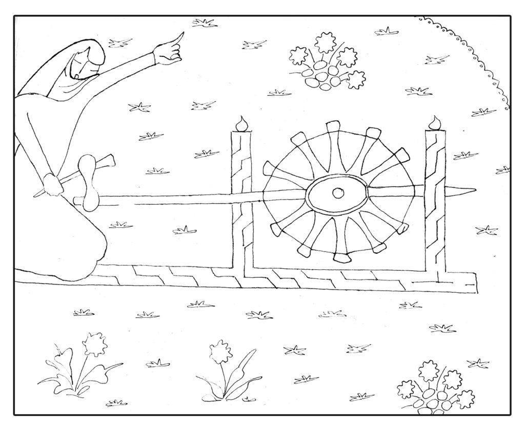 Proceso de hilado (copia de detalle de miniatura persa, siglos XV-XVI. The British Library, London, Ms. Or. 3299). Ilustración: Carmen Merino Rodríguez