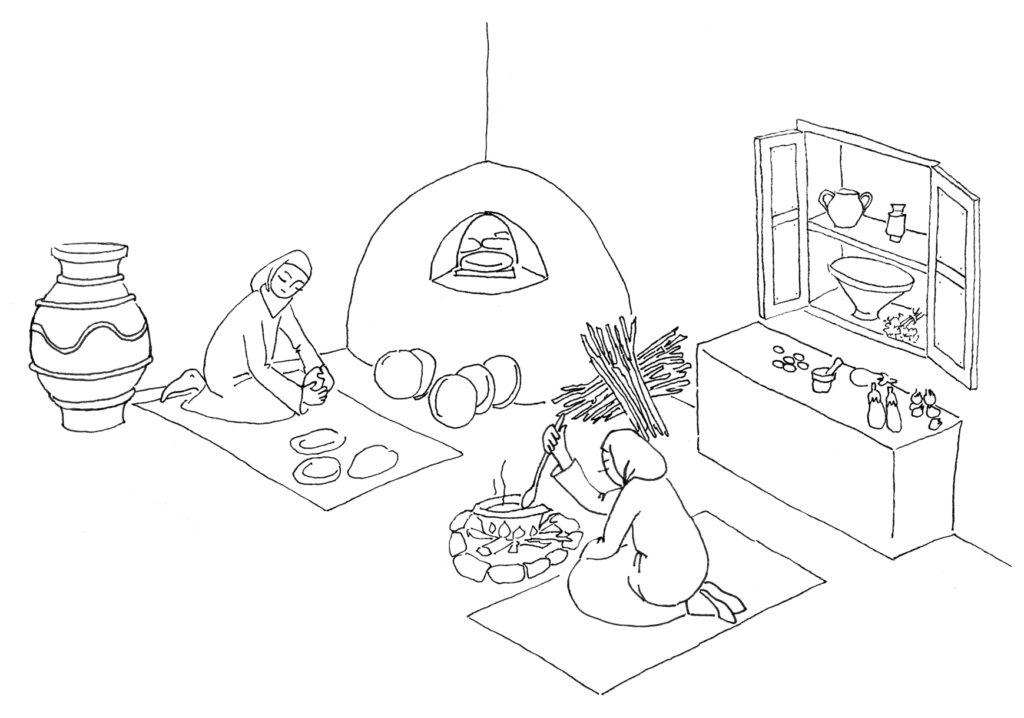 Mujeres andalusíes en la cocina de su vivienda. Ilustración: Carmen Merino Rodríguez